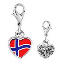 Link Charm Bracelet - 925  sterling silver norway flag photo heart frame link charm Image.