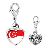 Link Charm Bracelet - 925  sterling silver singapore flag photo heart frame link charm Image.