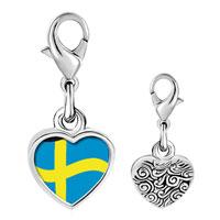 Link Charm Bracelet - 925  sterling silver sweden flag photo heart frame link charm Image.
