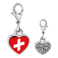 Link Charm Bracelet - 925  sterling silver switzerland flag photo heart frame link charm Image.