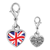 Link Charm Bracelet - 925  sterling silver united kingdom flag photo heart frame link charm Image.