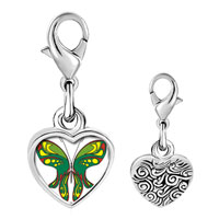 Link Charm Bracelet - 925  sterling silver exotic green butterfly photo heart frame link charm Image.