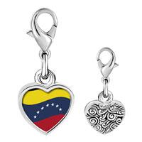 Link Charm Bracelet - 925  sterling silver venezuela flag photo heart frame link charm Image.
