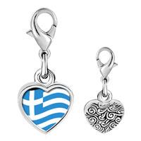 Link Charm Bracelet - 925  sterling silver greece flagphoto heart frame link charm Image.