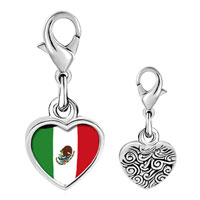 Link Charm Bracelet - 925  sterling silver mexico flag photo heart frame link charm Image.