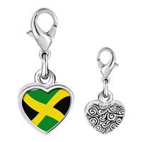 Link Charm Bracelet - 925  sterling silver jamaica flag photo heart frame link charm Image.