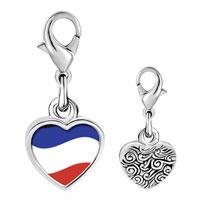 Link Charm Bracelet - 925  sterling silver yugoslavia flag photo heart frame link charm Image.
