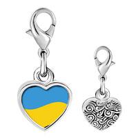 Link Charm Bracelet - 925  sterling silver ukraine flag photo heart frame link charm Image.
