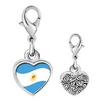 Link Charm Bracelet - 925  sterling silver argentina flag photo heart frame link charm Image.