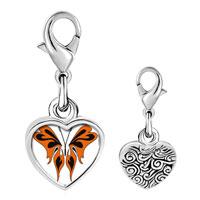 Link Charm Bracelet - 925  sterling silver orange and black butterfly photo heart frame link charm Image.