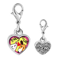 Link Charm Bracelet - 925  sterling silver my dog loves my cat photo heart frame link charm Image.