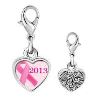 Link Charm Bracelet - 925  sterling silver 2013  pink ribbon photo heart frame link charm Image.