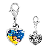 Link Charm Bracelet - 925  sterling silver moon girl photo heart frame link charm Image.