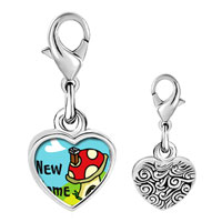 Link Charm Bracelet - 925  sterling silver new home photo heart frame link charm Image.