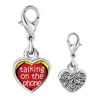 Link Charm Bracelet - 925  sterling silver love talking on phone photo heart frame link charm Image.