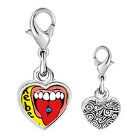 Link Charm Bracelet - 925  sterling silver tongue piercing photo heart frame link charm Image.