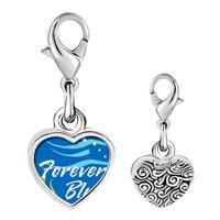Link Charm Bracelet - 925  sterling silver forever blue photo heart frame link charm Image.