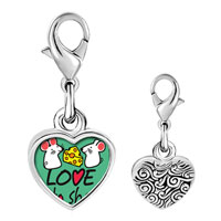 Link Charm Bracelet - 925  sterling silver love is to share cute rat photo heart frame link charm Image.