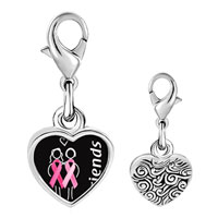 Link Charm Bracelet - 925  sterling silver friends support pink ribbon photo heart frame link charm Image.
