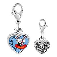 Link Charm Bracelet - 925  sterling silver keep me close photo heart frame link charm Image.