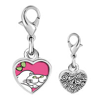Link Charm Bracelet - 925  sterling silver persian cat photo heart frame link charm Image.
