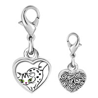 Link Charm Bracelet - 925  sterling silver egyptian mau cat photo heart frame link charm Image.