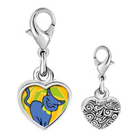 Link Charm Bracelet - 925  sterling silver russian blue cat photo heart frame link charm Image.
