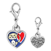 Link Charm Bracelet - 925  sterling silver scottish fold cat photo heart frame link charm Image.