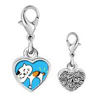 Link Charm Bracelet - 925  sterling silver bobtail cat photo heart frame link charm Image.