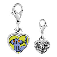 Link Charm Bracelet - 925  sterling silver british shorthair cat photo heart frame link charm Image.