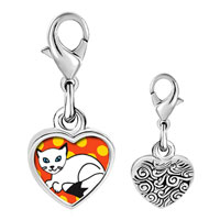 Link Charm Bracelet - 925  sterling silver balinese cat photo heart frame link charm Image.