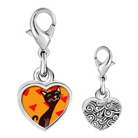 Link Charm Bracelet - 925  sterling silver havana brown cat photo heart frame link charm Image.