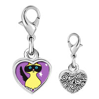 Link Charm Bracelet - 925  sterling silver birman cat photo heart frame link charm Image.