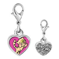 Link Charm Bracelet - 925  sterling silver maine coon cat photo heart frame link charm Image.