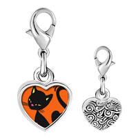 Link Charm Bracelet - 925  sterling silver bombay cat photo heart frame link charm Image.