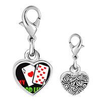 Link Charm Bracelet - 925  sterling silver my good luck photo heart frame link charm Image.