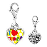 Link Charm Bracelet - 925  sterling silver i love bingo photo heart frame link charm Image.