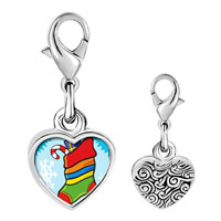 Link Charm Bracelet - 925  sterling silver christmas stocking snow photo heart frame link charm Image.