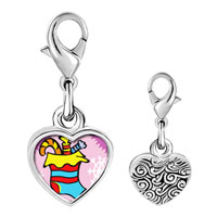 Link Charm Bracelet - 925  sterling silver candy christmas stocking photo heart frame link charm Image.