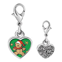 Link Charm Bracelet - 925  sterling silver christmas teddy bear photo heart frame link charm Image.