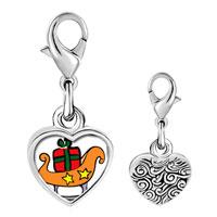 Link Charm Bracelet - 925  sterling silver christmas sled photo heart frame link charm Image.