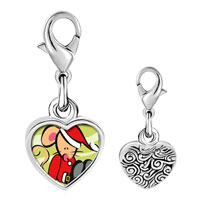 Link Charm Bracelet - 925  sterling silver christmas santa mouse photo heart frame link charm Image.