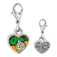 Link Charm Bracelet - 925  sterling silver christmas ornament photo heart frame link charm Image.