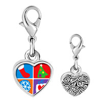 Link Charm Bracelet - 925  sterling silver various christmas decorations photo heart frame link charm Image.