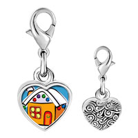 Link Charm Bracelet - 925  sterling silver gingerbread christmas house photo heart frame link charm Image.