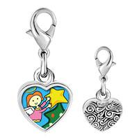 Link Charm Bracelet - 925  sterling silver christmas angel star photo heart frame link charm Image.