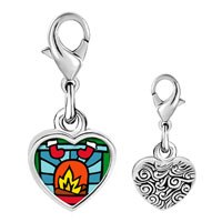 Link Charm Bracelet - 925  sterling silver christmas fireplace photo heart frame link charm Image.