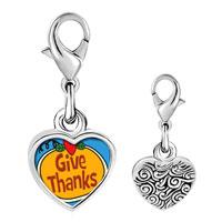 Link Charm Bracelet - 925  sterling silver give thanks heart jack o lantern halloween pumpkin photo heart frame link charm Image.
