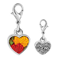 Link Charm Bracelet - 925  sterling silver underwater yellow and red flowers photo heart frame link charm Image.