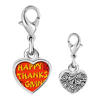 Link Charm Bracelet - 925  sterling silver happy thanksgiving photo heart frame link charm Image.